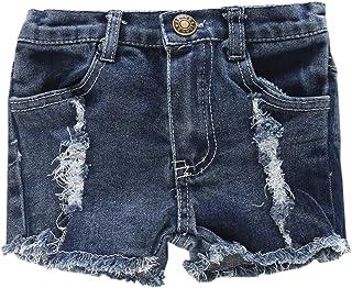 Betusline Girls Denim Shorts, Ripped Distressed Holes Jeans Denim Shorts, Navy, 3 Years = Tag 110