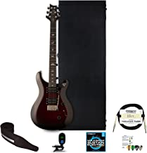PRS SE Custom 24 Electric Guitar with ChromaCast Hard Case, Strap, Tuner, Strings, Picks & Cable, Fire Red Burst