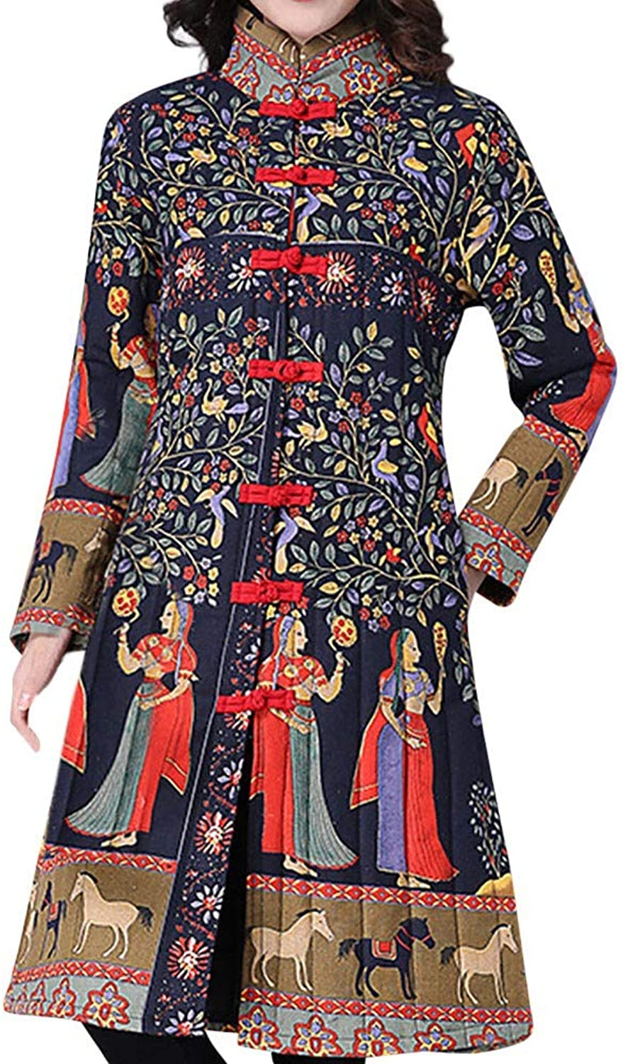 Women Winter Warm Cotton Linen Ethnic Style Print Positioning Buckle Pocket Long Coat