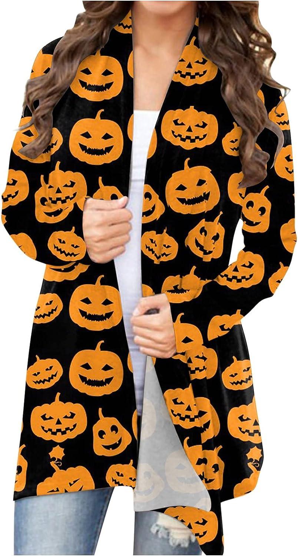 felwors Womens Halloween Cardigan, Womens Cat Pumpkin Print Long Sleeve Soft Open Front Autumn Lightweight Coat Blouse