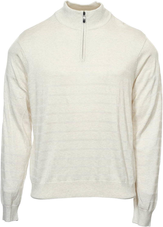 Perry Ellis Men's Beige Striped Half Zip Sweater