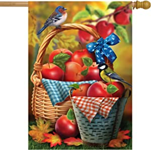 Briarwood Lane Harvest Apple Basket Fall House Flag Bluebirds Picnic 28