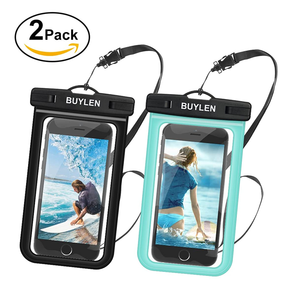 Buylen Universal Waterproof Case with Sensitive PVC Touch Screen and Neck Strap, 100% Waterproof Dry Bag Pouch for Outdoor Activities, Fits Devices up to 6.0