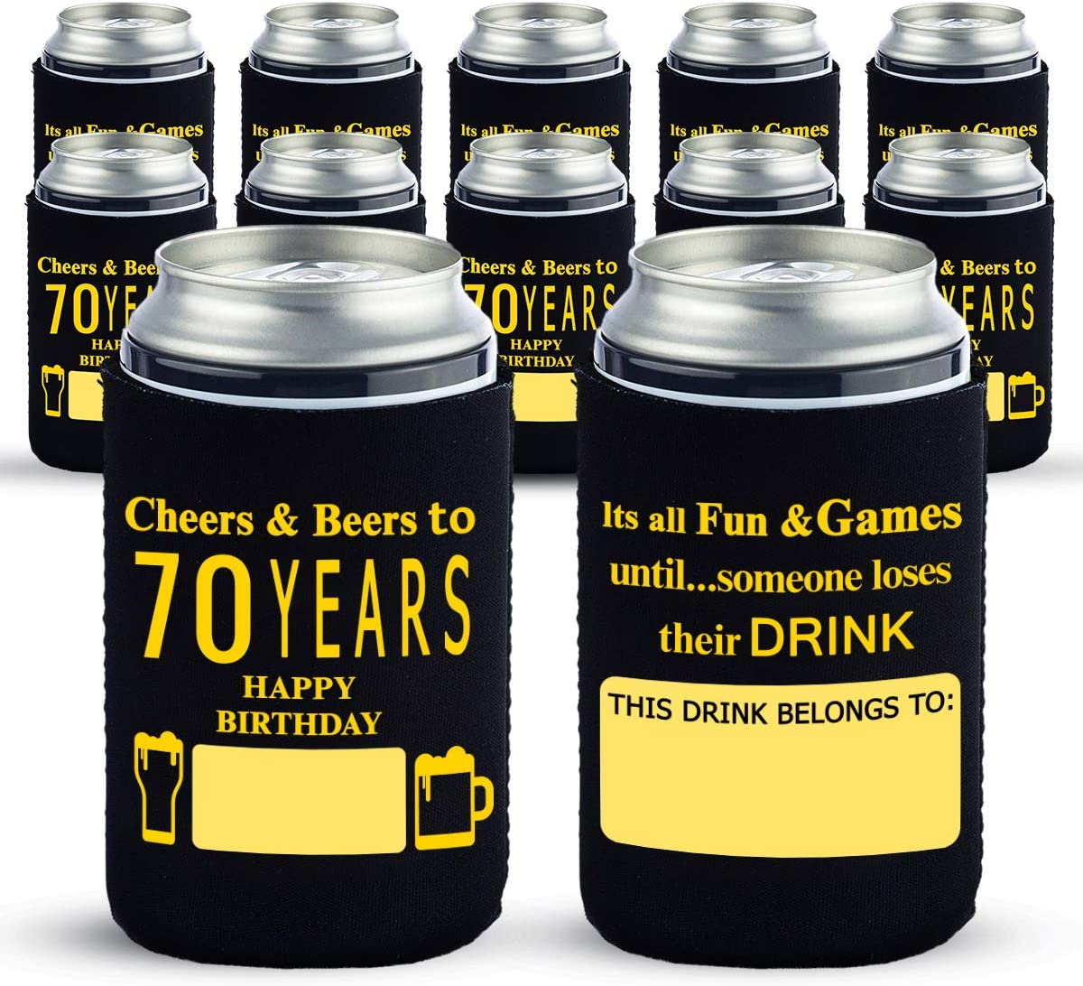 Yangmics Fresno Mall Direct 70th Birthday Can Cooler Today's only Sleeves Pack 12- of Dir