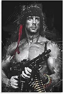 NIUASH First Blood John Rambo Vintage Movie Posters YQ01 Canvas Art Poster and Wall Art Picture Print Modern Family Bedroo...