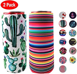 XccH2o 2pcs Slim Can Cooler, Colourful Neoprene Beer Cooler Beer Coolies Beer Holders Perfect for 12oz Slim Cans like Red Bull, White Claw, Slim Beer and Spiked Seltzer Water(Cactus + rainbow stripes)
