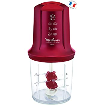 Moulinex AT714G32 Mini Hachoir Électrique Multi Moulinette 3 en 1 Hacher Mixer Emulsionner Mayonnaise Chantilly Viande Légumes Herbes Epices Fruits Secs 2 Vitesses 500W Rouge