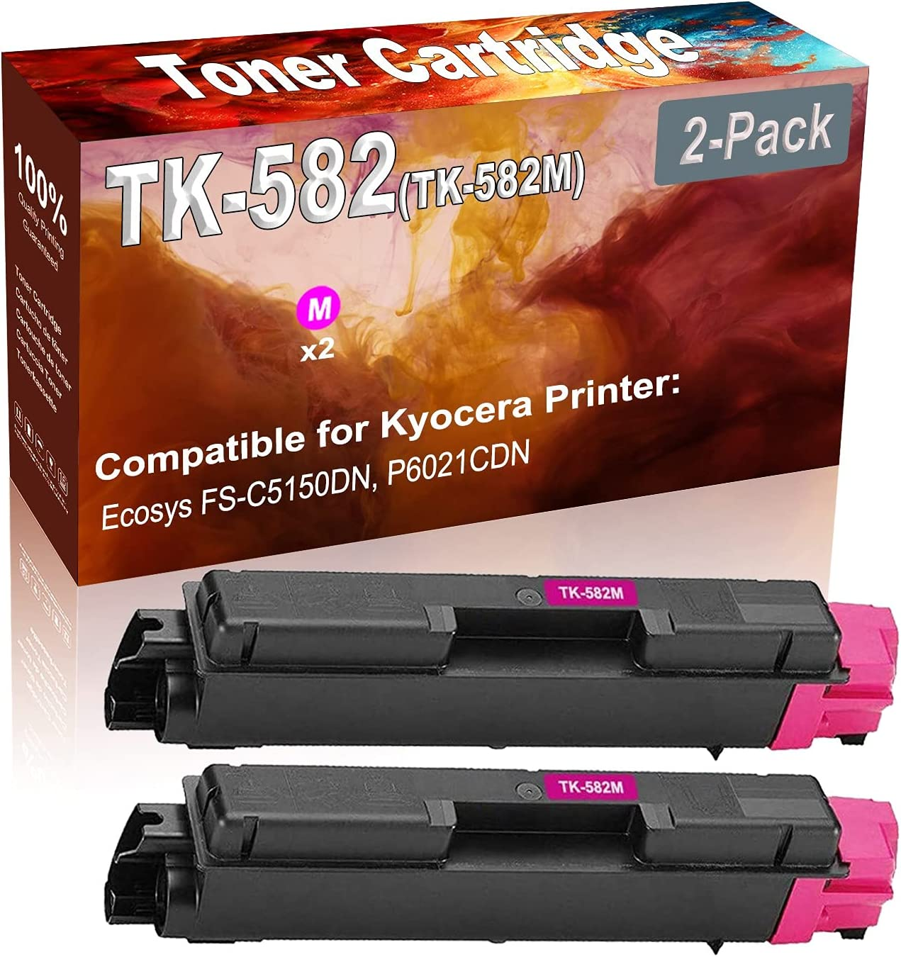 2-Pack (Magenta) Compatible Ecosys FS-C5150DN Laser Toner Cartridge (High Capacity) Replacement for Kyocera TK-582 (TK-582M) Printer Toner Cartridge