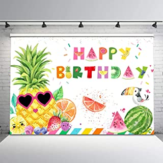 Cocostar Happy Birthday Felt Banner with Fruit Pineapple for Happy Birthday Party Decorations ,Home Party Decoration Mantel Fireplace Hanging Decorate Colorful Alphabet