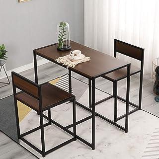 DlandHome Set Mesa de Bar Estilo Industrial Mesa de Comedor con 2 sillas Juegos de Muebles para Comedor Sala Cocina Restau...