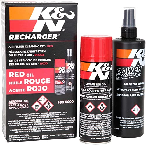 K&N Air Filter Cleaning Kit: Aerosol Filter Cleaner and Oil Kit; Restores Engine Air Filter Performance; Service Kit-...
