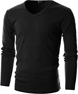 GIVON Mens Slim Fit Soft Cotton Long Sleeve Lightweight Thermal V-Neck T-Shirt