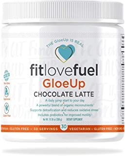 fitlovefuel GloeUp All-in-One Dietary Supplement Powder, Vegetarian, Gluten Free, Non-GMO, Chocolate Latte, 30 Servings