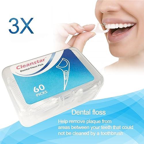 Ealicere Hilo dental en palo 180 piezas, dental floss picks para interdental oral limpieza, dientes limpiar sticks de...