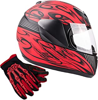 Typhoon Youth Kids Full Face Helmet with Shield & Gloves Combo Motorcycle Street Dirt Bike - Red (Small)