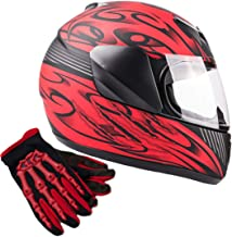 Typhoon Youth Kids Full Face Helmet with Shield & Gloves Combo Motorcycle Street Dirt Bike - Red (XL)