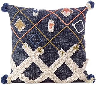 Eyes of India - 20 Decorative Indigo Blue Boho Embroidered Fringe Tassel Pillow Cotton Cushion Cover Case Couch Sofa Throw Indian Bohemian Chic Handmade (50X50 cm) Cover ONLY