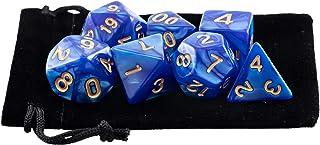 Kit 7 Dados RPG de Mesa D&D Opaco Perolado D4 D6 D8 D10 D10% D12 D20 Cor AZUL ROYAL + 1 Bolsa