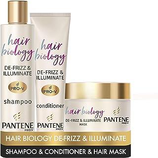 Pantene Pro-V Hair Biology des-Frizz & Illuminate Champú Acondicionador y Máscara de pelo Anti-Frizz Hair Productos Set c...