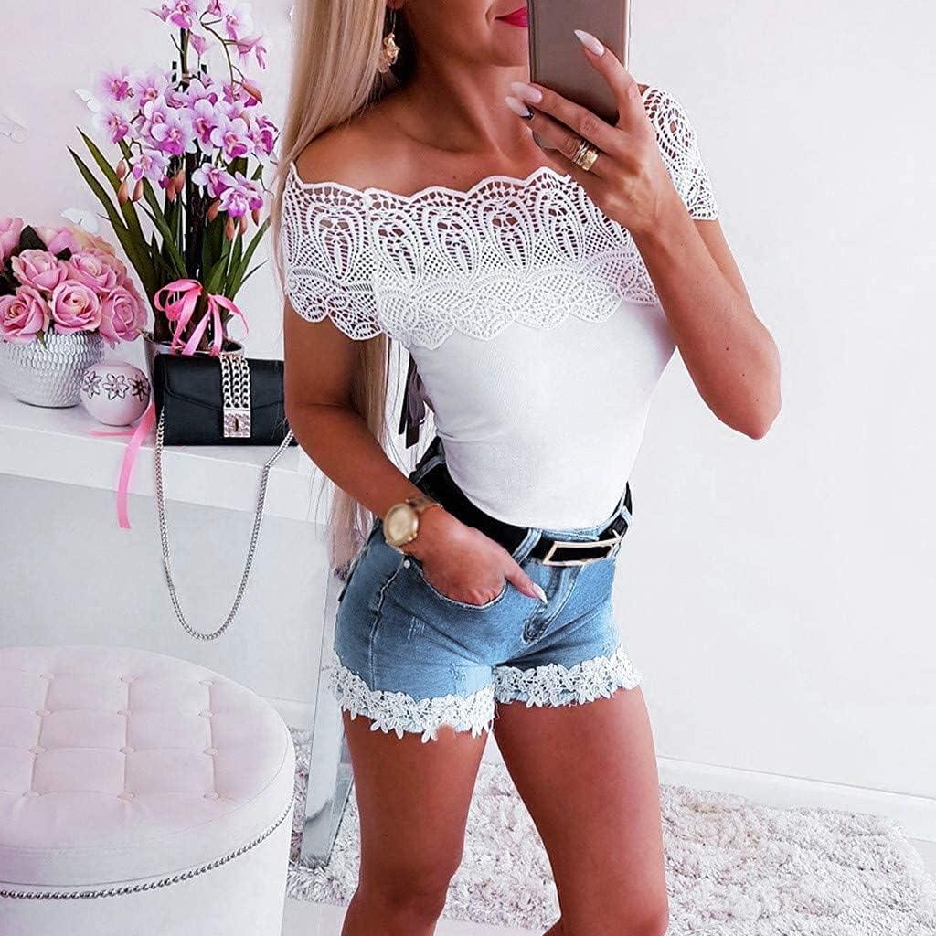 Denim Shorts Slim Slimming Stretch lace Zipper Blue Short