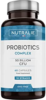 Probiótico 50 mil millones de UFC garantizados por dosis | 10 cepas efectivas y naturales | 60 cápsulas vegetales | Mejora las defensas y la flora intestinal | Probióticos complex | Nutralie