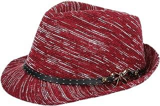 Bullidea Women Lady Winter Warm Hat Felt Cloth Soft Jazz Cap Elegant Bowknot and Belt Decoration Design Solid Color Basin Cap Comfortable and Breathable (Wine Red)