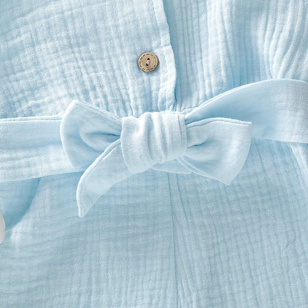 Hongyuangl B/éb/é Fille Combinaison Short avec Ceinture Salopette en Coton avec Bouton pour 3-18 Mois