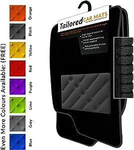 Car Mats fit Outlander Phev Hybrid  2014   Fully Tailored Car Mats Durable Heel Pad Black Carpet Black Ribbed Trim Black Rectangle Heel Pad Car Mats