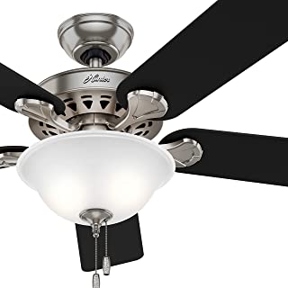 Hunter Fan 52in Traditional Ceiling Fan in Brushed Nickel with Clear Frosted Light Kit and Remote Control, 5 Blade (Renewed) (With Remote)