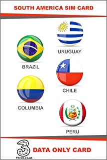South America Prepaid Travel SIM Card by 3UK (Brazil, Chile, Colombia, Peru and Uruguay) with 12GB Data only for 30 Days
