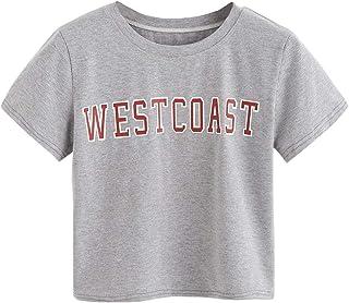SheIn Women's Casual Short Sleeve Letter Print Summer Crop Tee Tops Shirt