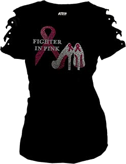 Breast Cancer Bling Rhinestones Fighter in Pink T-Shirt Ripped Cut Out Sh