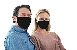 Snoozies Face Masks - 3-Layer Cloth Face Mask - Washable Fabric Face Mask Reusable with Filter Pocket - Adjustable Ear Loops - Resealable Pouch - 4 Disposable Filters Included - Black