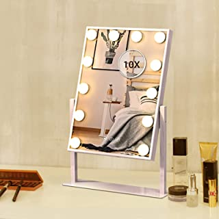 Lighted Makeup Mirror Hollywood Mirror Vanity Makeup Mirror with Light Smart Touch Control 3Colors Dimmable Light Detachab...
