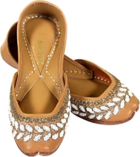 JOPELLE The White Pearl with Leather Handcrafted Leather Hand-Embroidered Punjabi Juttis Mojari for Women