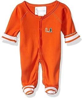 Two Feet Ahead NCAA Miami Hurricanes Baby Stripe Footed Creeper