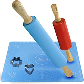Chefast Non-Stick Rolling Pin and Pastry Mat Set: Combo Kit of Large and Small Silicone Dough Rollers for Baking, Non-Slip Mat with Measurements, and Cookie Cutters - For Tortilla, Pizza and More