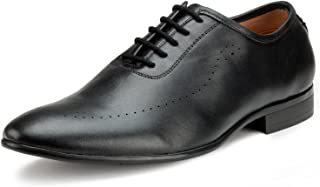 Escaro Everyday Wear Men's Leather Black Formal Oxford Shoes