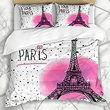 HANILUC Ropa de Cama - Funda nórdica Acuarela Vintage Love Paris Pink All City Travel Tower Diseño Claro Microfibra Nuevo Set de Tres Piezas Funda de edredón 140 * 200