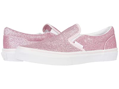 Vans Kids Classic Slip-On (Big Kid) ((Glitter) Blushing Bride/True White) Girls Shoes