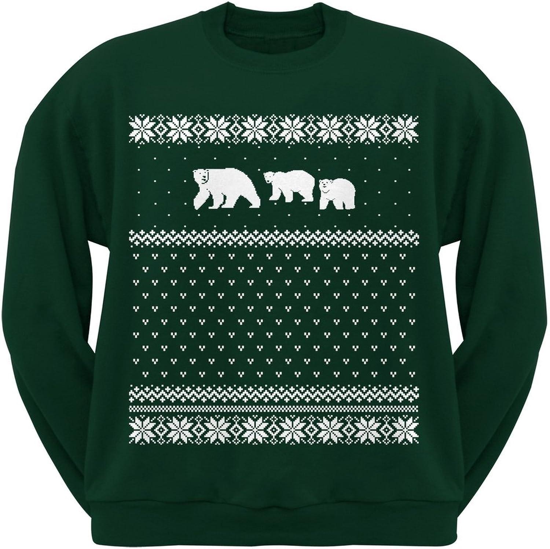 Polar Bears Ugly Christmas Sweater Dark Green Crew Neck Sweatshirt