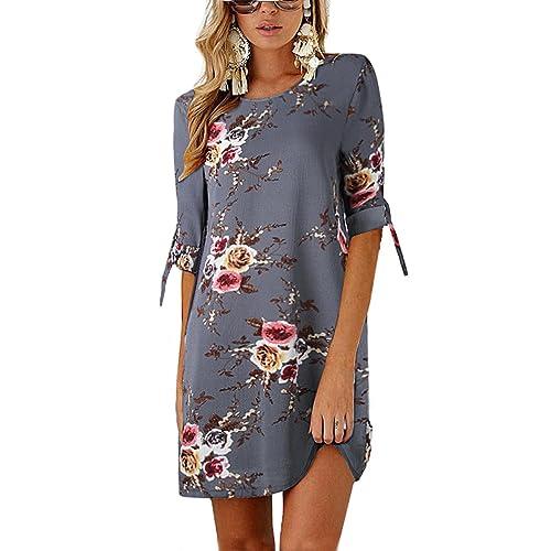 eb44cdef70a ISASSY Women Casual Loose Short Sleeve Dresses Floral Print Ruffle Hem  Casual Mini Dress