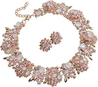 6 Colors Crystal Vintage Statement Necklace Earrings Women Jewelry Set