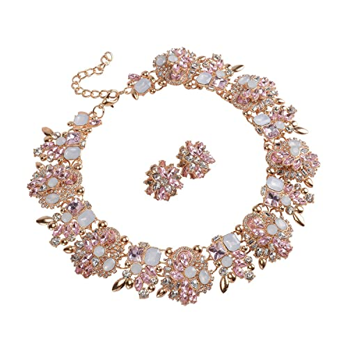 db46c1279 Holylove 7 Colors Crystal Vintage Statement Necklace Earrings Women Jewelry  Set