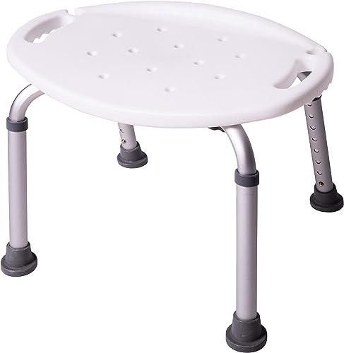 Tabouret de salle de bain ONVAYA® 150kg (tabouret de douche ovale blanc 150kg)