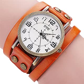 AMA(TM) Men Women Vintage Cow Leather Wristwatch Dress Quartz Bracelet Watch Gifts (Orange)