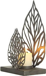 Adeco Leaf Sytle Metal Candle Holder