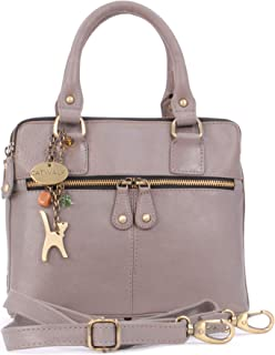 Catwalk Collection Handbags - Vintage Leather Handbag - Shoulder Bag/Cross Body Bag - Includes Shoulder Strap - Fits Kindl...