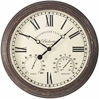 Bickerton Outdoor and Indoor Wall Clock with Thermometer and Hygrometer, Large 15 Inch Face