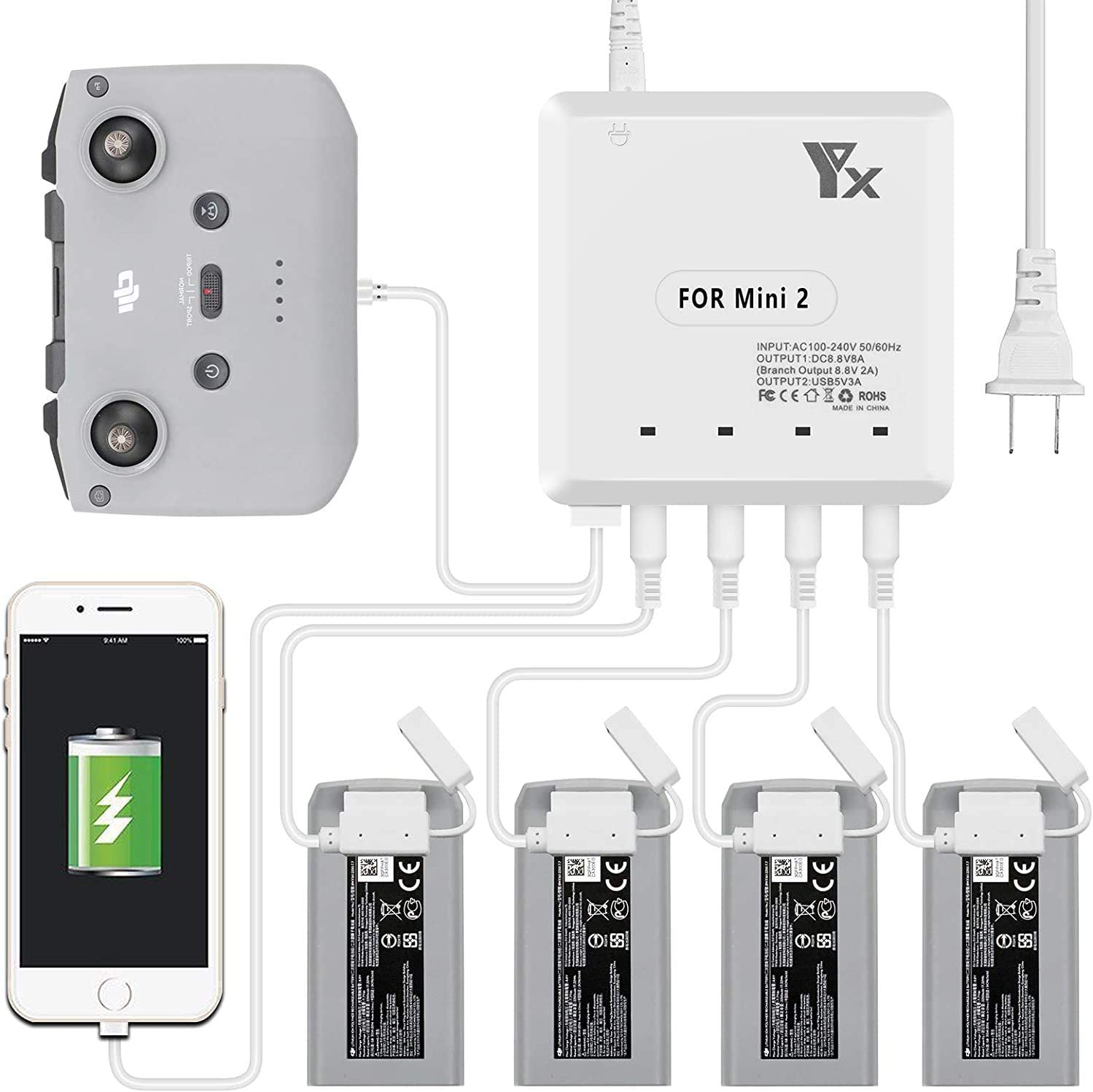 6-in-1 Fast Home Charger for The DJI - Mini 特価 2 Drone 品質保証 Valley